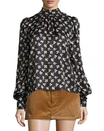 Floral Silk Charmeuse High-Neck Top