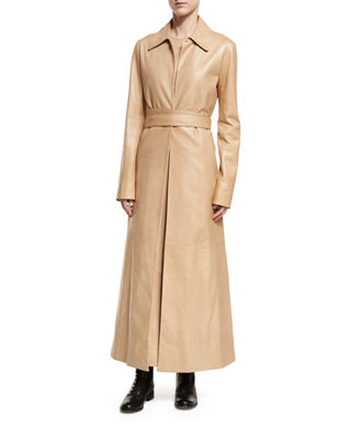 Neyton Long Leather Trenchcoat