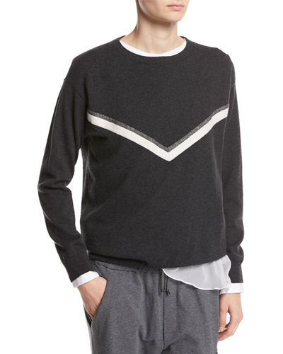 Cashmere Pullover with Monili Alpine Stripe
