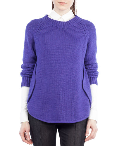 Knit Crewneck Circle-Detail Sweater