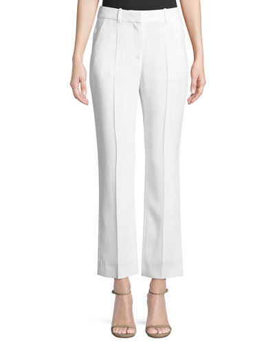 Stretch-Cady Straight-Leg Pants