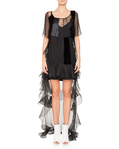 High-Low Short-Sleeve Ruffled Chiffon Lace Cocktail Dress