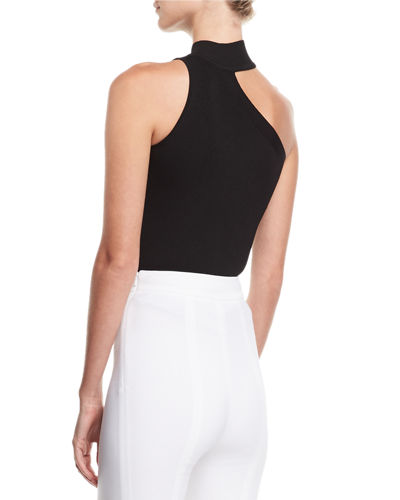 Mock-Neck One-Shoulder Top