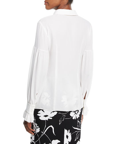Gathered-Sleeve Silk Shirt