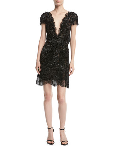 Beaded Short-Sleeve Fringe Cocktail Dress