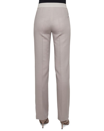 Stretch-Wool Straight-Leg Pants