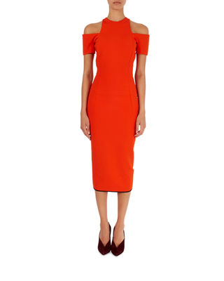 Compact Knit Cold-Shoulder Midi-Dress in Tomato Red