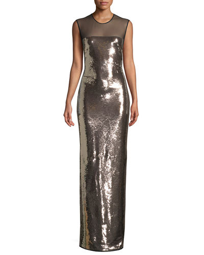 Sleeveless Liquid-Sequin Evening Gown with Illusion