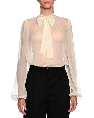 d2faacfb9fb61 Dolce   Gabbana Bow-Neck Long-Sleeve Silk Chiffon Blouse