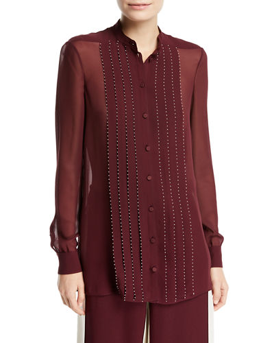 Long-Sleeve Stitched Georgette Blouse