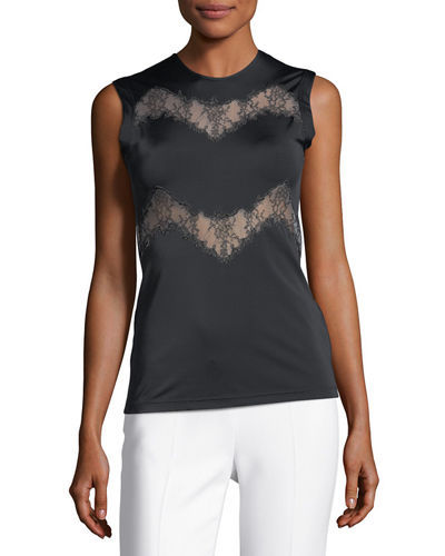 Sleeveless Lace-Trim Jersey Top