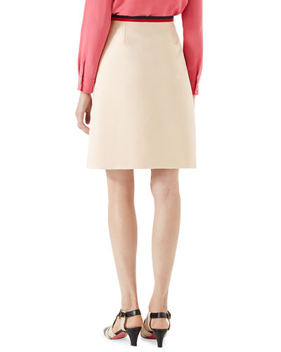 Cady Crepe Wool A-Line Skirt