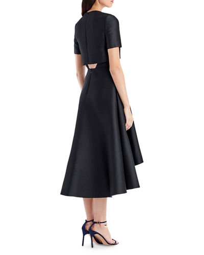 Short-Sleeve Sateen Popover Cocktail Dress
