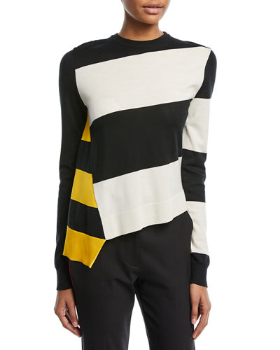 Asymmetric Colorblock Stripe Sweater