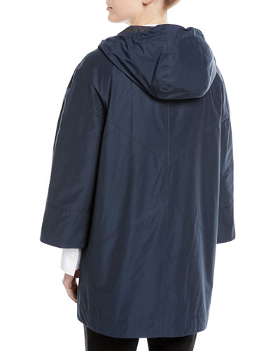 Hooded Taffeta Mid-Length Coat