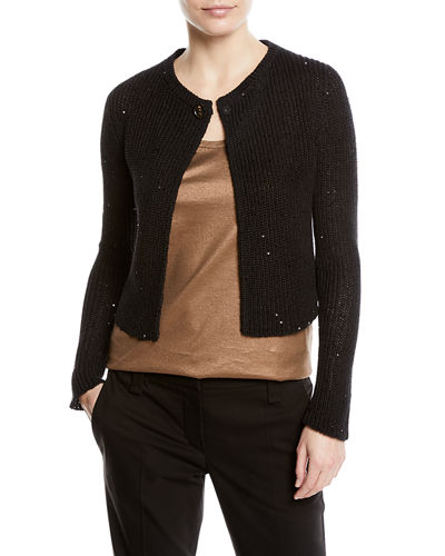 Paillette Knit One-Button Sweater
