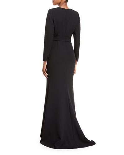Plunging Long-Sleeve Belted Gown