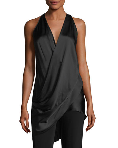 Draped Silk Halter Top