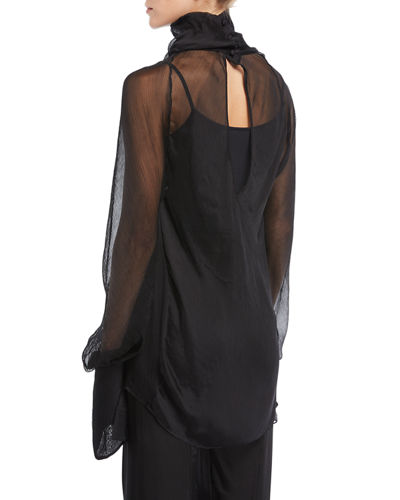 Draped Chiffon High-Neck Top