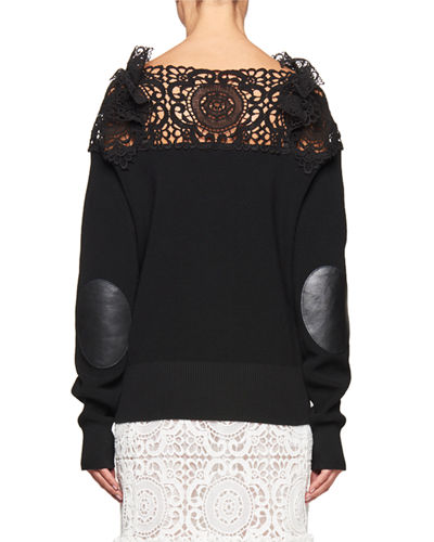 Lace-Yoke Elbow-Patch Sweater