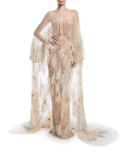 Feather-Embellished Tulle Cape Gown