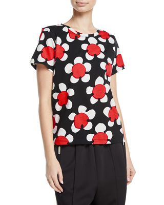 Printed Short-Sleeved T-Shirt in Red