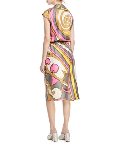 Abstract-Print Cowl-Neck Dress