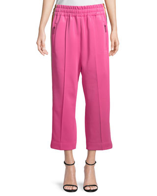 Striped Jersey Crop Track Pants in Pink
