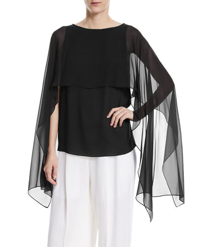 Silk Georgette Dolman-Sleeve Top