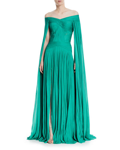 Pleated Chiffon Cape-Sleeve Gown