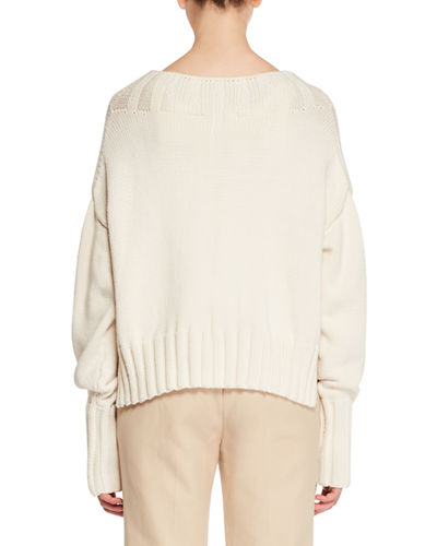 Gracie High-Neck Long-Sleeve Knit Sweater