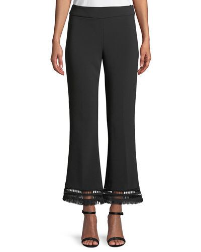 Sam Flared Crepe Pants with Fringe-Hem
