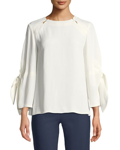 Bow-Tie-Sleeve Textured Blouse