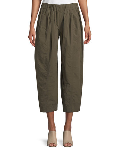 Cropped Poplin Pull-On Pants