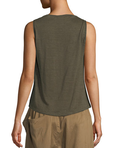 Twisted Linen Jersey Cowl-Neck Tank Top