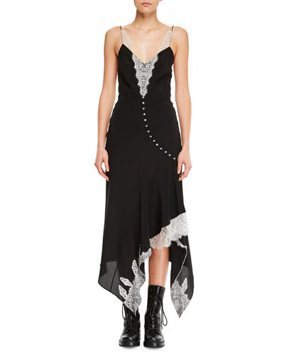 Sleeveless Silk Dress w/ Handkerchief Hem & Lace Details
