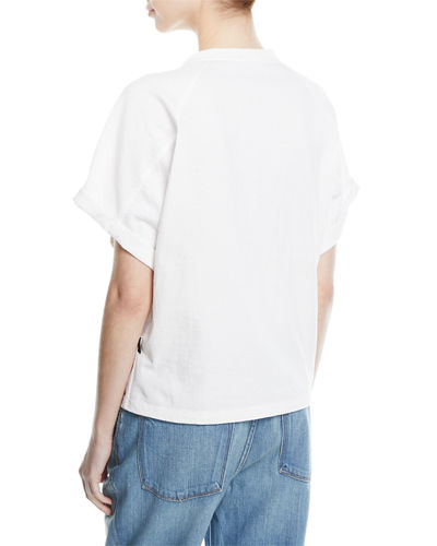 Raglan T-Shirt w/Hook-and-Eye Trim