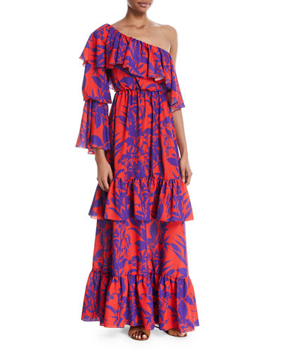 Penelope One-Shoulder Silk Maxi Dress