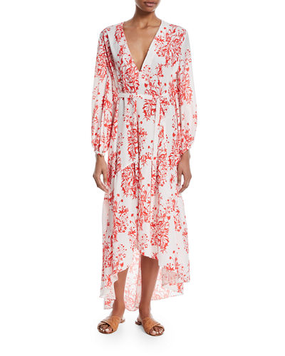 Beatrice Floral-Print Wrap Midi Dress