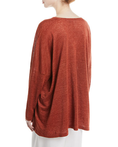 Lightweight Linen Knit V-Neck Top