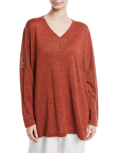 Long-Sleeve Hand-Loomed Linen Top