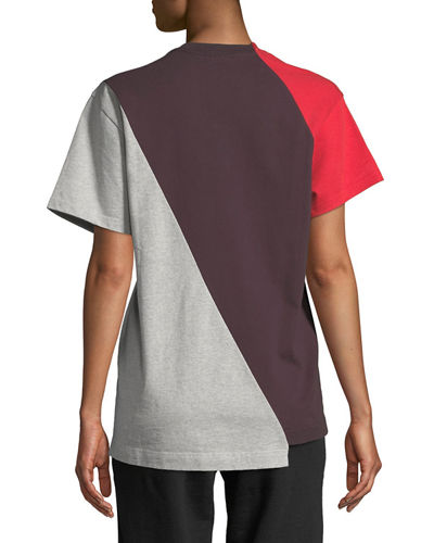 Crewneck Short-Sleeve Colorblocked Cotton Tee