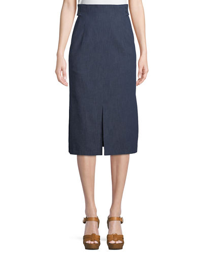 High-Waist A-Line Cotton-Stretch Denim Midi Skirt with Slits