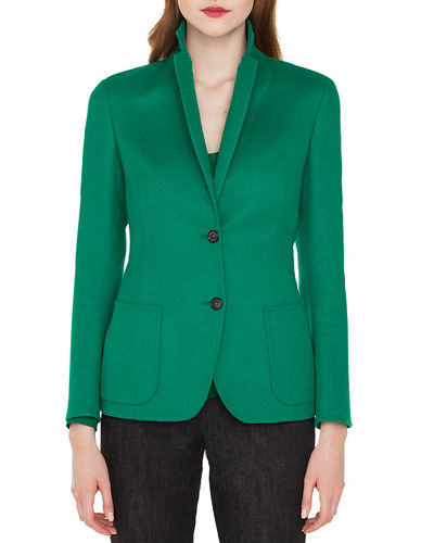 Akris Saigon Notched-Collar Cashmere-Wool Blazer