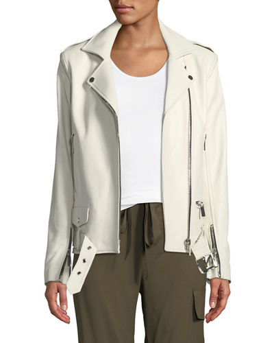 Nour Hammour Oversized Lambskin Leather Biker Jacket