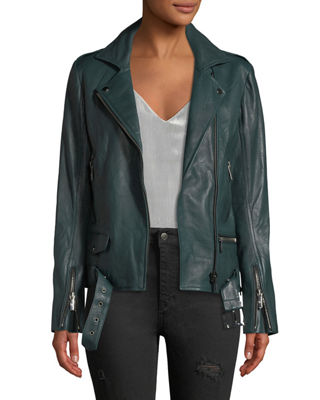 OVERSIZED LAMBSKIN LEATHER BIKER JACKET