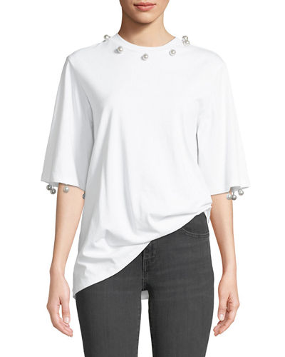 Crewneck Elbow-Sleeve Cotton Tee w/ Pearlescent Buttons