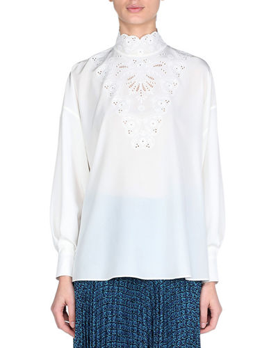 Long-Sleeve High-Neck Silk Blouse with Heart Embroidery