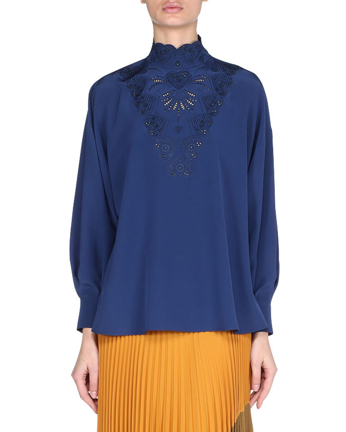 Fendi Long Sleeve High Neck Silk Blouse with Heart Embroidery | Top and Clothing