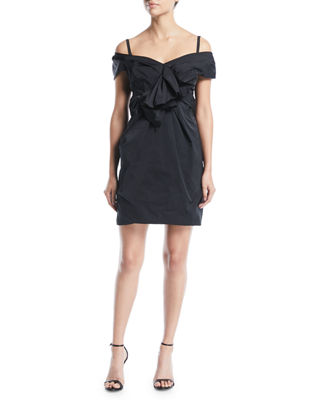 Off-the-Shoulder Gathered Mini Dress with Bow Detail